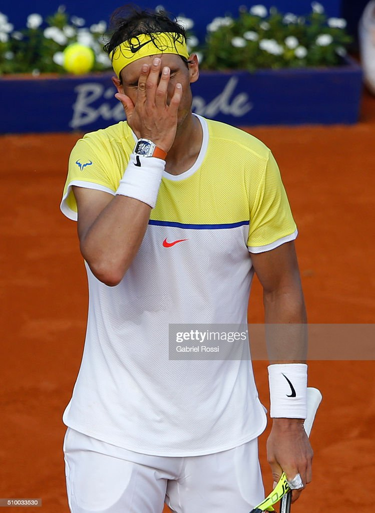 <a gi-track='captionPersonalityLinkClicked' href=/galleries/search?phrase=Rafael+Nadal&family=editorial&specificpeople=194996 ng-click='$event.stopPropagation()'>Rafael Nadal</a> of Spain reacts during a match between <a gi-track='captionPersonalityLinkClicked' href=/galleries/search?phrase=Rafael+Nadal&family=editorial&specificpeople=194996 ng-click='$event.stopPropagation()'>Rafael Nadal</a> of Spain and Dominic Thiem of Austria as part of ATP Argentina Open at Buenos Aires Lawn Tennis Club on February 13, 2016 in Buenos Aires, Argentina.