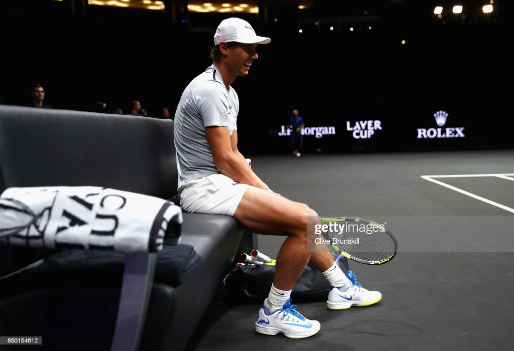 Rafael Nadal of Spain reacts during a training session ahead of the Laver Cup on September 20, 2017 in Prague, Czech Republic. The Laver Cup consists of six European players competing against their counterparts from the rest of the World. Europe will be captained by Bjorn Borg and John McEnroe will captain the Rest of the World team. The event runs from 22-24 September.