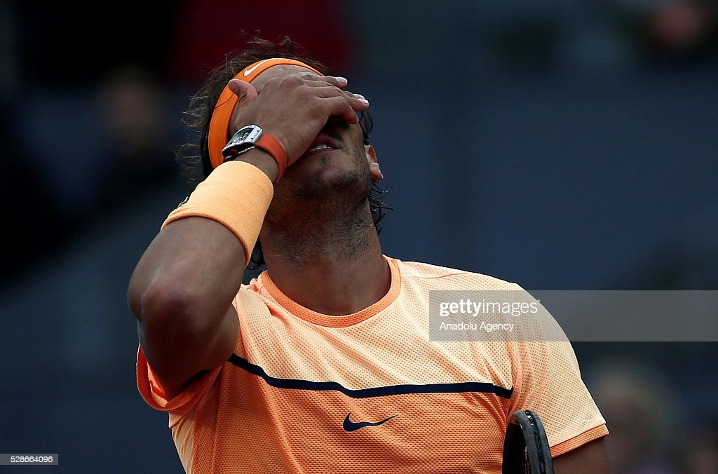 Rafael Nadal of Spain reacts during his match against Joao Sousa of Portugal in their quarter final round match during the Mutua Madrid Open tennis tournament at the Caja Magica in Madrid, Spain on May 06, 2016.