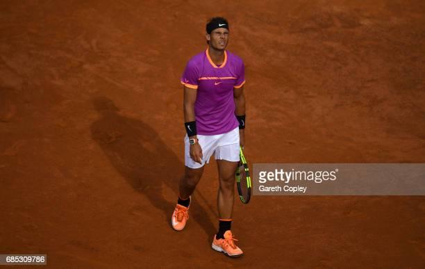 Rafael Nadal of Spain reacts during his quarter final match against Dominic Thiem of Austriain The Internazionali BNL d'Italia 2017 at Foro Italico...