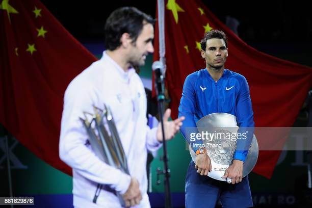 Rafael Nadal of Spain reacts during the award ceremony after losing his Men's singles final match against Roger Federer of Switzerland on day eight...