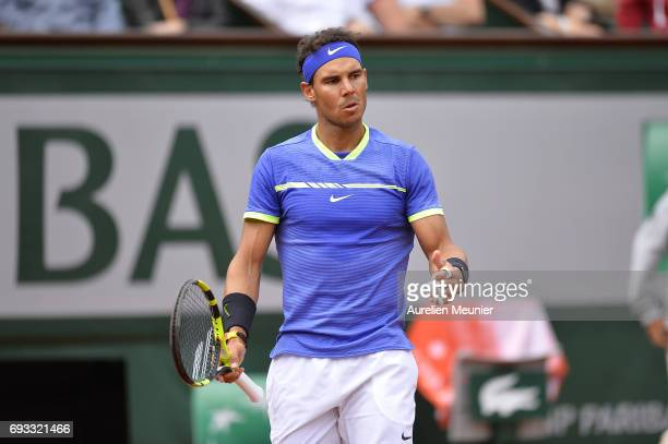 Rafael Nadal of Spain reacts during the men's singles quarterfinal match against Pablo Carreno Busta of Spain on day eleven of the 2017 French Open...
