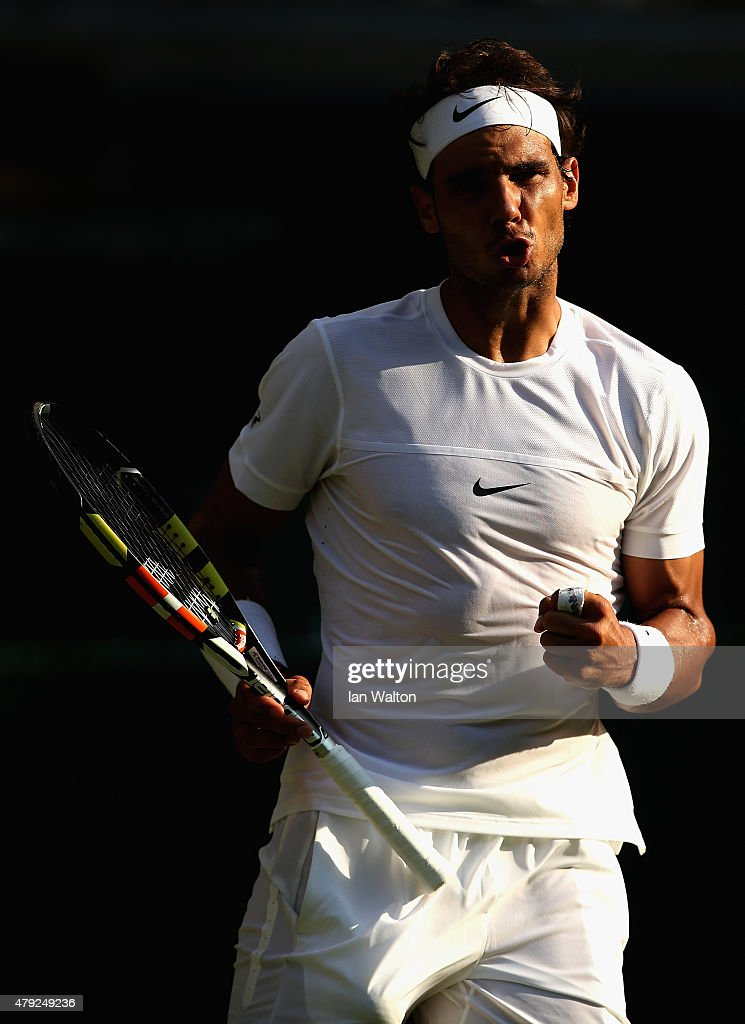 <a gi-track='captionPersonalityLinkClicked' href=/galleries/search?phrase=Rafael+Nadal&family=editorial&specificpeople=194996 ng-click='$event.stopPropagation()'>Rafael Nadal</a> of Spain reacts in his Gentlemens Singles Second Round match against Dustin Brown of Germany during day four of the Wimbledon Lawn Tennis Championships at the All England Lawn Tennis and Croquet Club on July 2, 2015 in London, England.