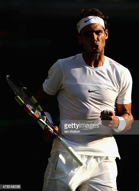 Rafael Nadal of Spain reacts in his Gentlemens Singles Second Round match against Dustin Brown of Germany during day four of the Wimbledon Lawn...