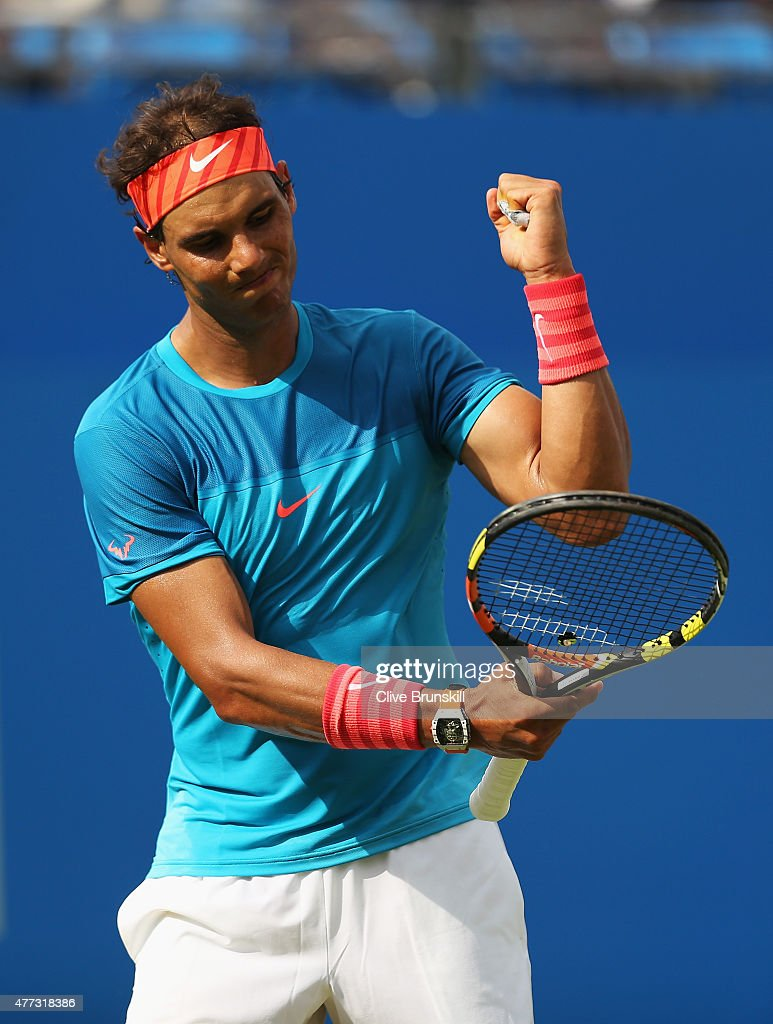 <a gi-track='captionPersonalityLinkClicked' href=/galleries/search?phrase=Rafael+Nadal&family=editorial&specificpeople=194996 ng-click='$event.stopPropagation()'>Rafael Nadal</a> of Spain reacts in his men's singles first round match against Alexandr Dolgopolov of Ukraine during day two of the Aegon Championships at Queen's Club on June 16, 2015 in London, England.