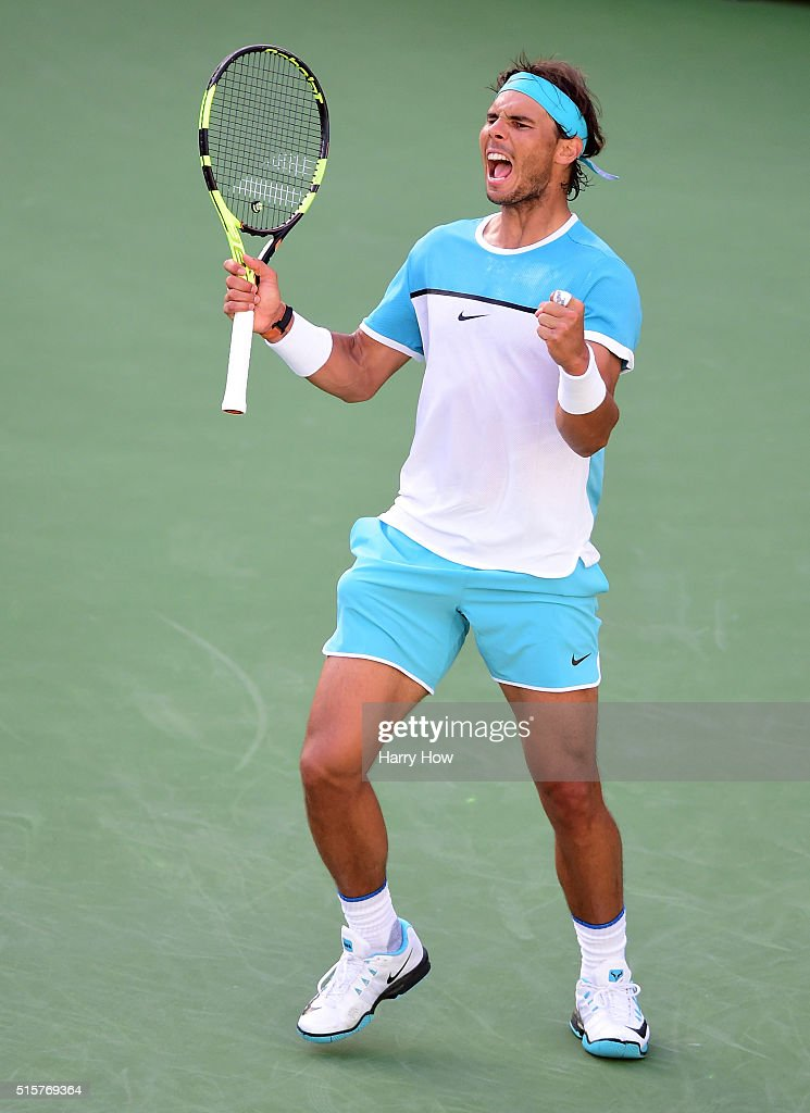 <a gi-track='captionPersonalityLinkClicked' href=/galleries/search?phrase=Rafael+Nadal&family=editorial&specificpeople=194996 ng-click='$event.stopPropagation()'>Rafael Nadal</a> of Spain reacts to his final point of the match to beat Fernando Verdasco of Spain in straight sets at Indian Wells Tennis Garden on March 15, 2016 in Indian Wells, California.