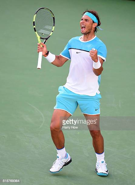 Rafael Nadal of Spain reacts to his final point of the match to beat Fernando Verdasco of Spain in straight sets at Indian Wells Tennis Garden on...