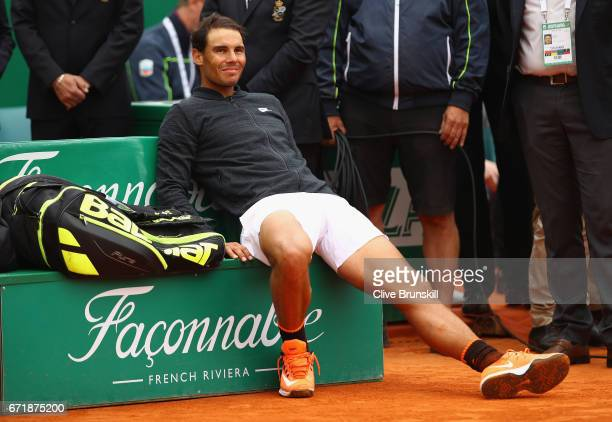 Rafael Nadal of Spain relaxes before the trophy presentation after his straight set victory against Albert RamosVinolas of Spain in the final on day...