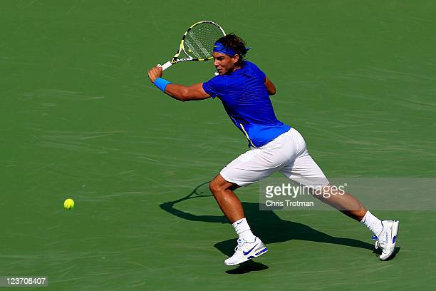 Rafael Nadal of Spain returns a shot against David Nalbandian of Argentina during Day Seven of the 2011 US Open at the USTA Billie Jean King National...