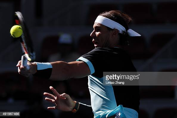 Rafael Nadal of Spain returns a shot against Jack Sock of the United States on day 7 of the 2015 China Open at the National Tennis Centre on October...