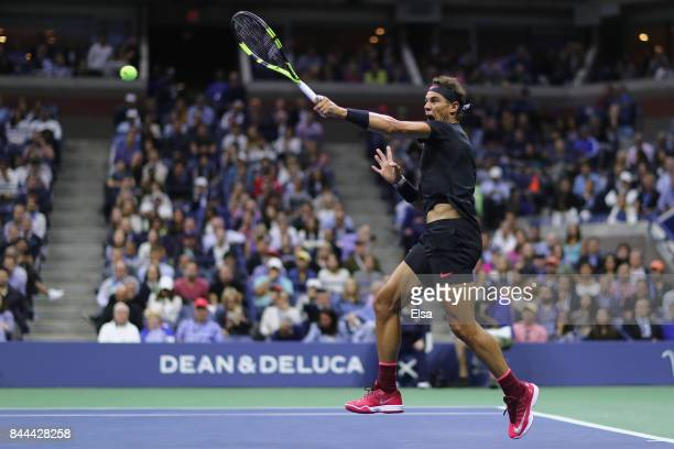 Rafael Nadal of Spain returns a shot against Juan Martin del Potro of Argentina during their Men's Singles Semifinal match on Day Twelve of the 2017...