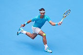 Rafael Nadal of Spain returns a shot during his men's semifinal match against Tomas Berdych of Czech Republic on day eight of the 2013 China Open at...
