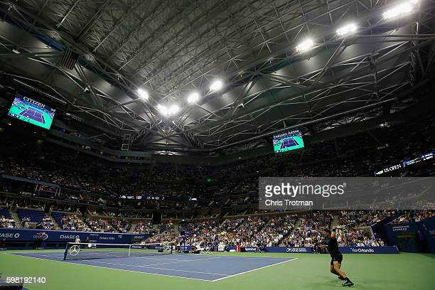 Rafael Nadal of Spain returns a shot during his second round Men's Singles match against Andreas Seppi of Italy on Day Three of the 2016 US Open at...