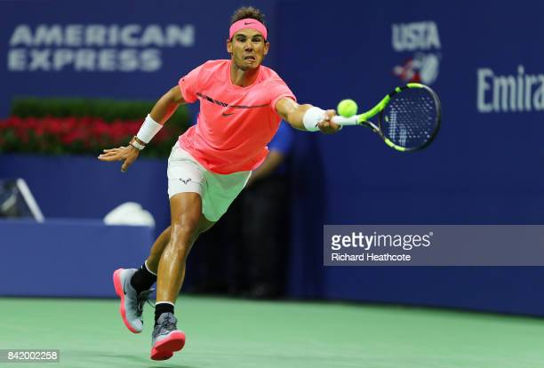 Rafael Nadal of Spain returns a shot during his third round match against Leonardo Mayer of Argentina on Day Six of the 2017 US Open at the USTA...