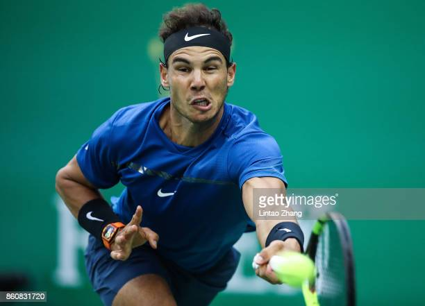 Rafael Nadal of Spain returns a shot during Men's singles quarter final mach against Grigor Dimitrov of Bulgaria on day six of 2017 ATP Shanghai...