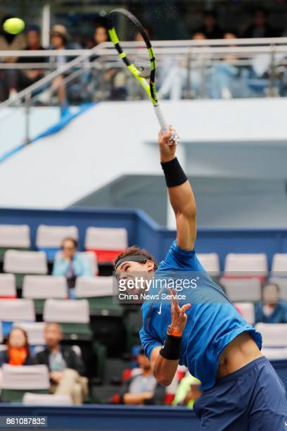 Rafael Nadal of Spain returns a shot during Men's singles quarterfinal mach against Grigor Dimitrov of Bulgaria on day six of 2017 ATP Shanghai Rolex...
