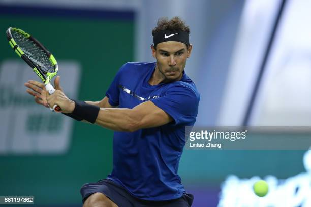Rafael Nadal of Spain returns a shot during the Men's singles Semifinal mach against Marin Cilic of Coratia on day seven of 2017 ATP Shanghai Rolex...