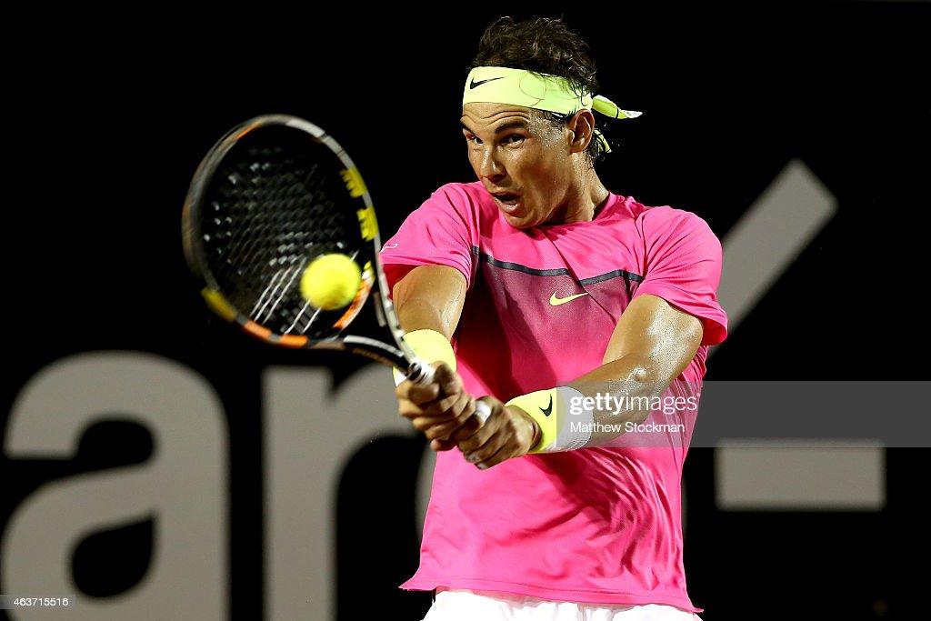 Rafael Nadal of Spain returns a shot to Tomaz Bellucci of Brazil during the Rio Open at the Jockey Club Brasileiro on February 17 2015 in Rio de...
