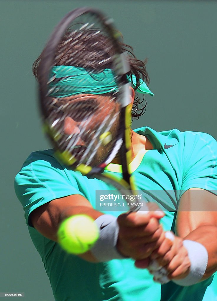 Rafael Nadal of Spain returns against Thomas Berdych of the Czech Republic on March 16, 2013 in Indian Wells, California, during their semifinal match at the BNP Paribas Open. AFP PHOTO/Frederic J. BROWN