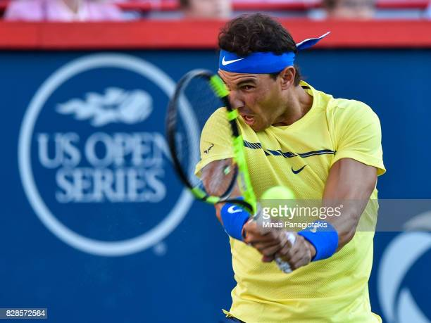 Rafael Nadal of Spain returns the ball against Borna Coric of Croatia during day six of the Rogers Cup presented by National Bank at Uniprix Stadium...