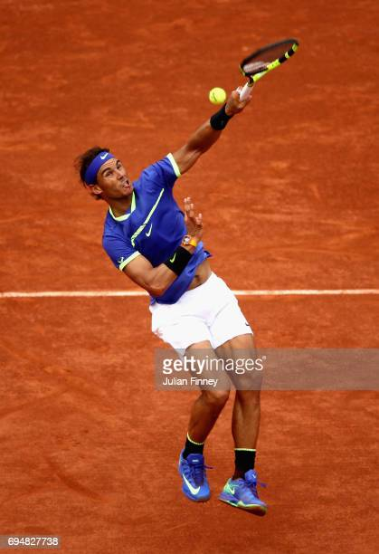 Rafael Nadal of Spain returns the ball during the mens singles final match against Stan Wawrinka of Switzerland on day fifteen of the 2017 French...