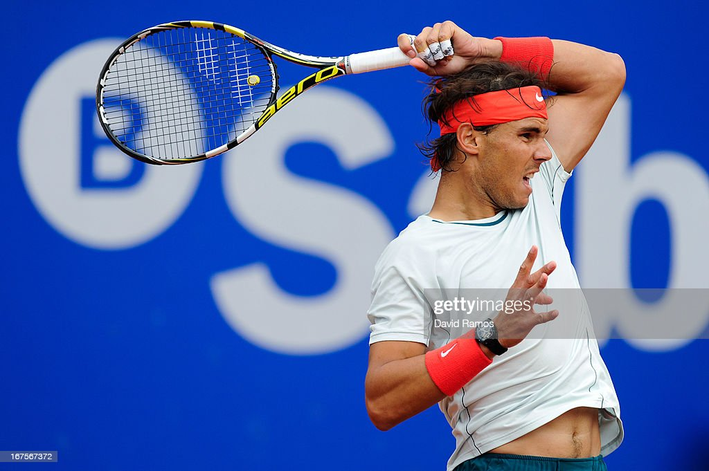 Rafael Nadal of Spain returns the ball to Albert Ramos of Spain during their quarter-final match during day five of the 2013 Barcelona Open Banc Sabadell on April 26, 2013 in Barcelona, Spain. Rafael Nadal won 6-3, 6-0.