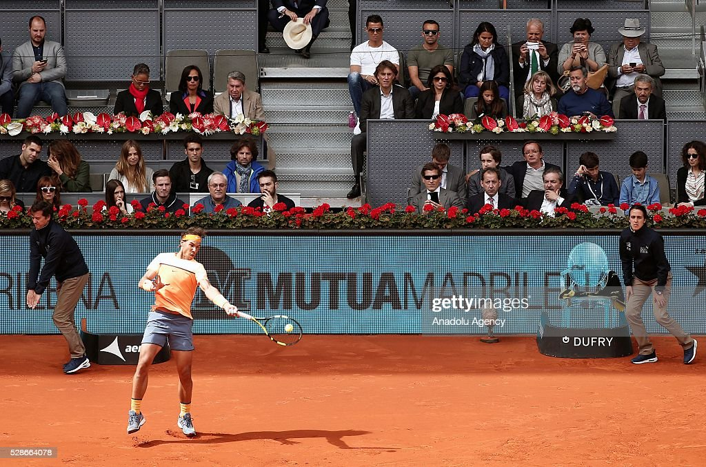 Rafael Nadal of Spain returns the ball to Joao Sousa of Portugal in their quarter final round match during the Mutua Madrid Open tennis tournament at the Caja Magica in Madrid, Spain on May 06, 2016.