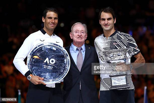Rafael Nadal of Spain Rod Laver and Roger Federer of Switzerland pose after the Men's Final match on day 14 of the 2017 Australian Open at Melbourne...