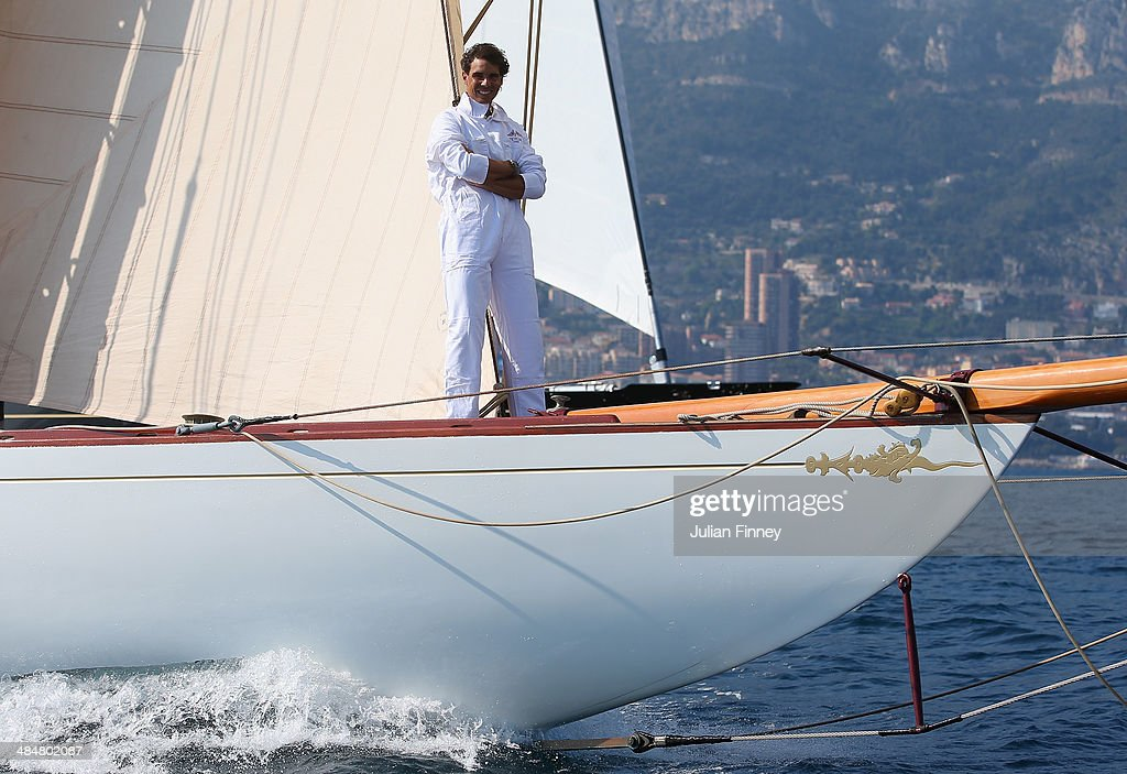 <a gi-track='captionPersonalityLinkClicked' href=/galleries/search?phrase=Rafael+Nadal&family=editorial&specificpeople=194996 ng-click='$event.stopPropagation()'>Rafael Nadal</a> of Spain sails a boat during day two of the ATP Monte Carlo Rolex Masters Tennis at Monte-Carlo Sporting Club on April 14, 2014 in Monte-Carlo, Monaco.