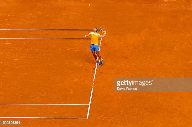 Rafael Nadal of Spain serves against Albert Montanez during day four of the Barcelona Open Banc Sabadell at the Real Club de Tenis Barcelona on April...