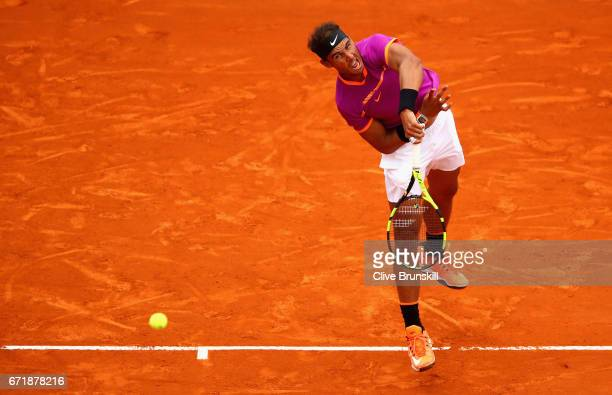 Rafael Nadal of Spain serves against Albert RamosVinolas of Spain in the final on day eight of the Monte Carlo Rolex Masters at MonteCarlo Sporting...