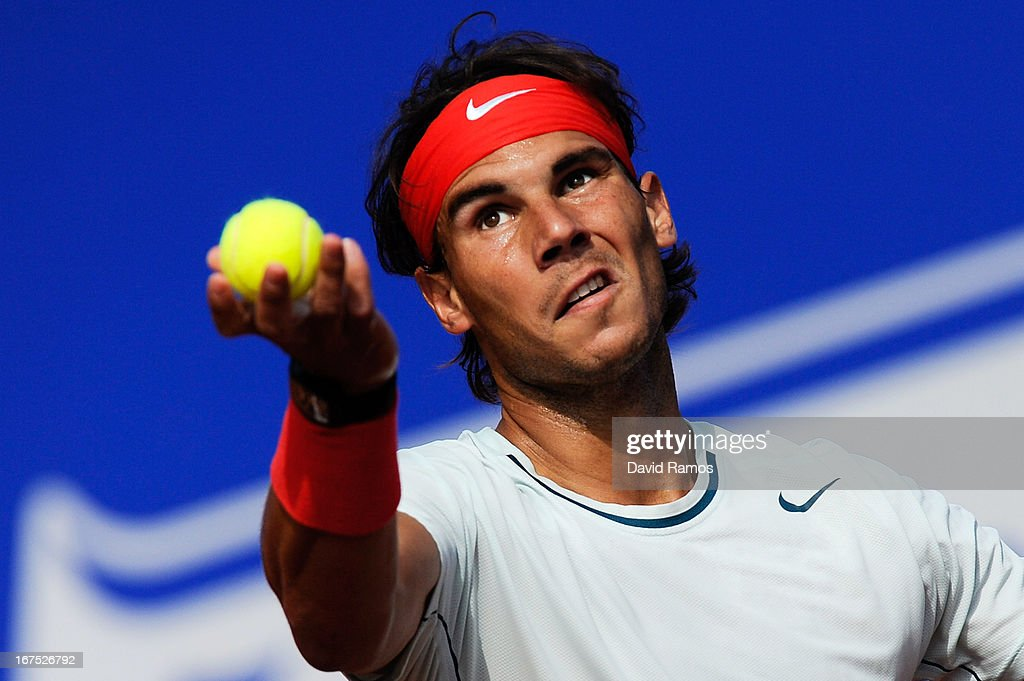 Rafael Nadal of Spain serves against Benoit Paire of France during day five of the 2013 Barcelona Open Banc Sabadell on April 26, 2013 in Barcelona, Spain. Rafael Nadal won 7-6, 6-2..