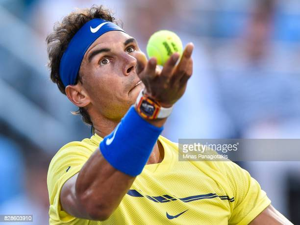 Rafael Nadal of Spain serves against Borna Coric of Croatia during day six of the Rogers Cup presented by National Bank at Uniprix Stadium on August...