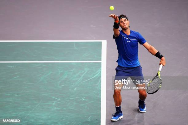 Rafael Nadal of Spain serves against Chung Hyeon of South Korea during Day 3 of the Rolex Paris Masters held at the AccorHotels Arena on November 1...