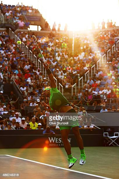 Rafael Nadal of Spain serves against Diego Schwartzman of Argentina during their Men's Singles Second Round match on Day Three of the 2015 US Open at...