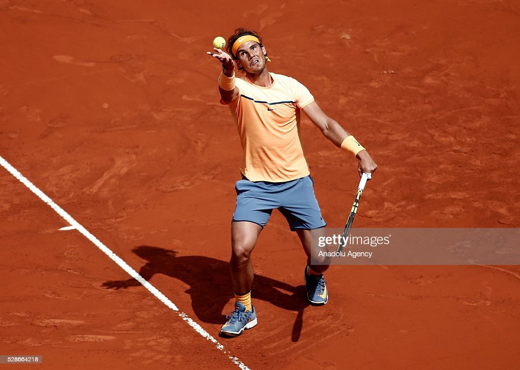Rafael Nadal of Spain serves against Joao Sousa of Portugal in their quarter final round match during the Mutua Madrid Open tennis tournament at the Caja Magica in Madrid, Spain on May 06, 2016.