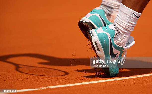 Rafael Nadal of Spain serves against Marinko Matosevic of Australia in their second round match during day four of the ATP Monte Carlo Mastersat...