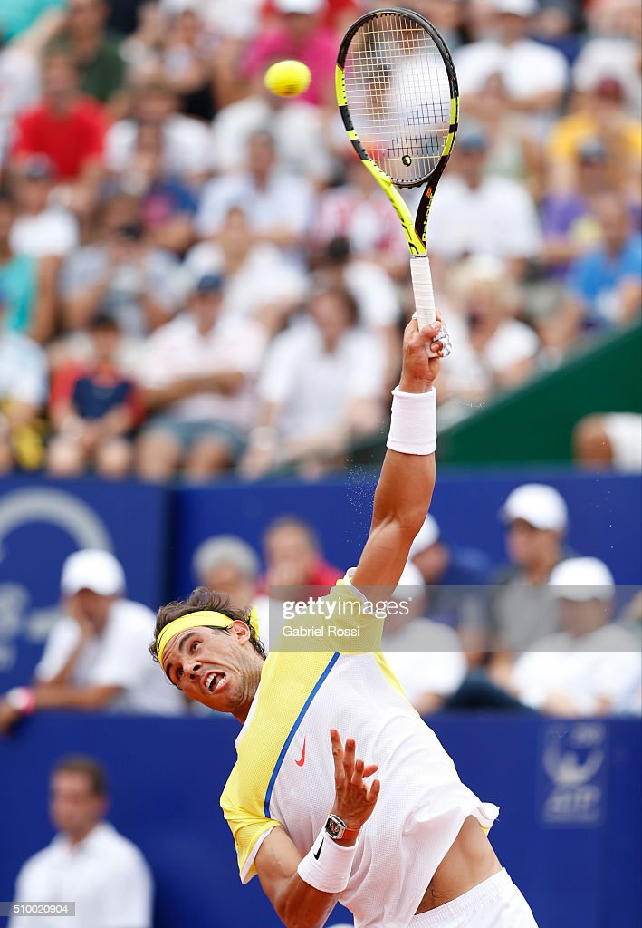 Rafael Nadal of Spain serves during a match between Rafael Nadal of Spain and Dominic Thiem of Austria as part of ATP Argentina Open at Buenos Aires Lawn Tennis Club on February 13, 2016 in Buenos Aires, Argentina.