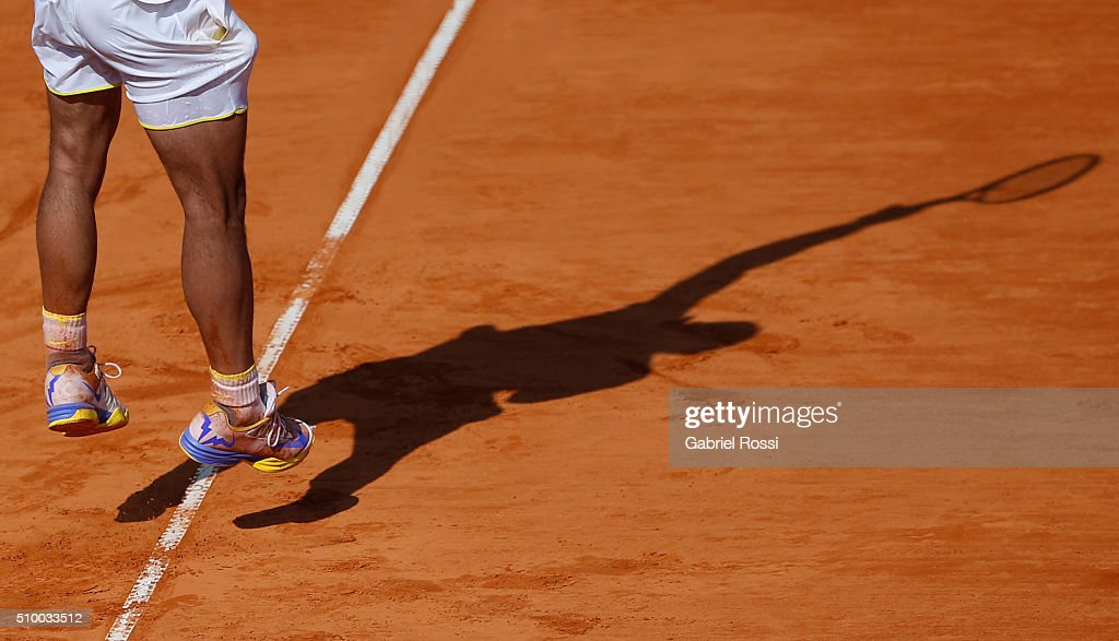 <a gi-track='captionPersonalityLinkClicked' href=/galleries/search?phrase=Rafael+Nadal&family=editorial&specificpeople=194996 ng-click='$event.stopPropagation()'>Rafael Nadal</a> of Spain serves during a match between <a gi-track='captionPersonalityLinkClicked' href=/galleries/search?phrase=Rafael+Nadal&family=editorial&specificpeople=194996 ng-click='$event.stopPropagation()'>Rafael Nadal</a> of Spain and Dominic Thiem of Austria as part of ATP Argentina Open at Buenos Aires Lawn Tennis Club on February 13, 2016 in Buenos Aires, Argentina.
