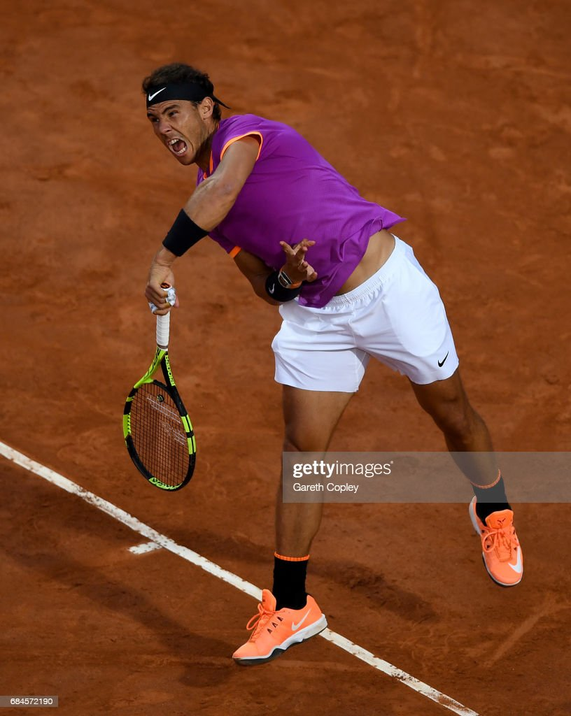 Rafael Nadal of Spain serves during his 3rd round match against Jack Sock of USA in The Internazionali BNL d'Italia 2017 at Foro Italico on May 18, 2017 in Rome, Italy.