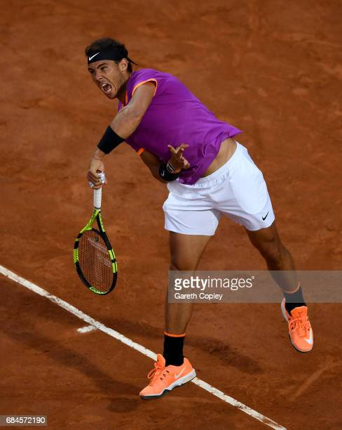 Rafael Nadal of Spain serves during his 3rd round match against Jack Sock of USA in The Internazionali BNL d'Italia 2017 at Foro Italico on May 18...