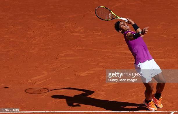 Rafael Nadal of Spain serves during his match against Alexander Zverev of Germany during day five of the ATP Monte Carlo Rolex Masters Tennis at...