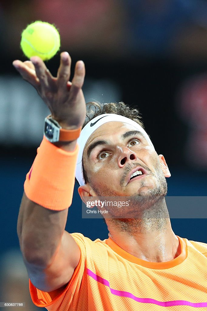 Rafael Nadal of Spain serves during his match against Alexandr Dolgopolov of Ukraine on day three of the 2017 Brisbane International at Pat Rafter Arena on January 3, 2017 in Brisbane, Australia.