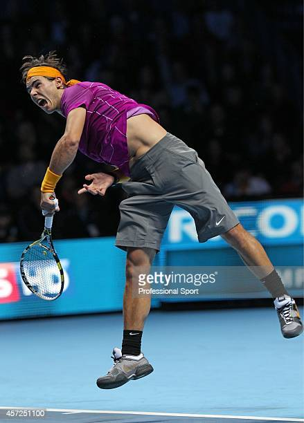 Rafael Nadal of Spain serves during his singles match against Andy Roddick of the United States in the Barclays ATP World Tour Finals at the O2 Arena...