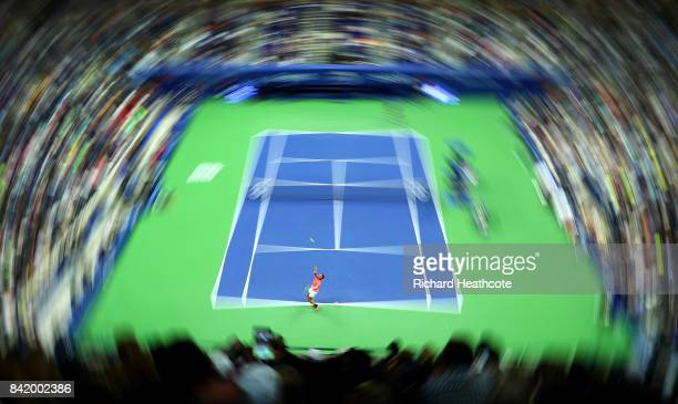 Rafael Nadal of Spain serves during his third round match against Leonardo Mayer of Argentina on Day Six of the 2017 US Open at the USTA Billie Jean...