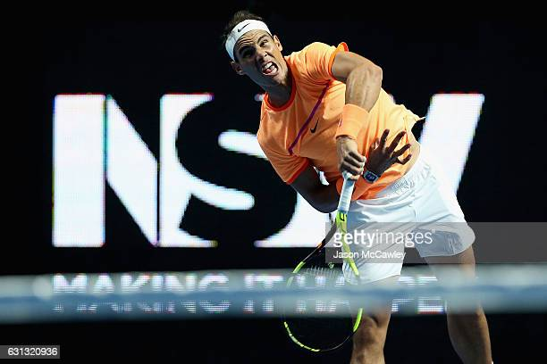 Rafael Nadal of Spain serves during the Fast4 International Exhibition match between Rafael Nadal and Nick Kyrgios at the ICC Sydney Theatre on...