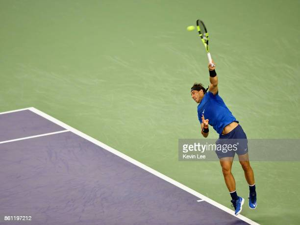 Rafael Nadal of Spain serves during the Men's Single SemiFinal match between Rafael Nadal of Spain and Marin Cilic of Croatia on Day 7 of 2017 ATP...
