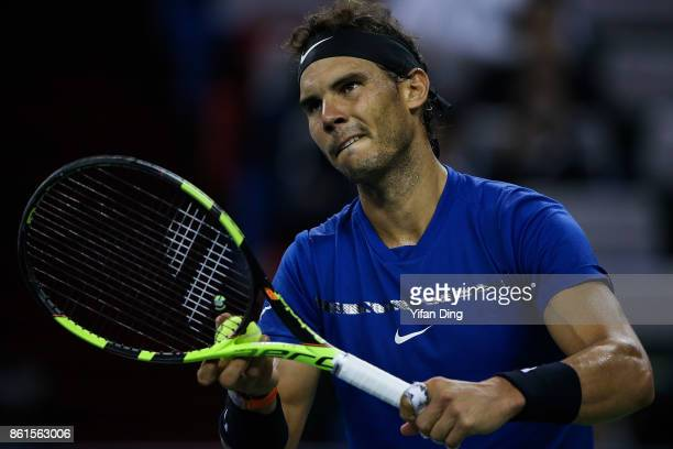 Rafael Nadal of Spain serves during the Men's singles final match against Roger Federer of Switzerland on day 8 of 2017 ATP Shanghai Rolex Masters at...