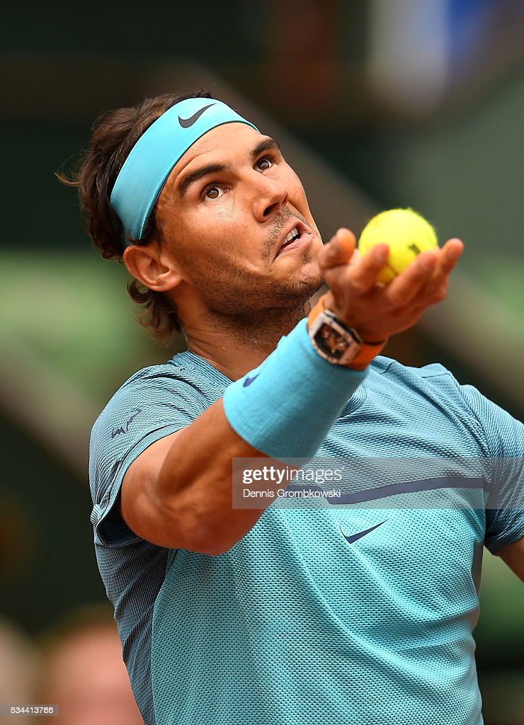 <a gi-track='captionPersonalityLinkClicked' href=/galleries/search?phrase=Rafael+Nadal&family=editorial&specificpeople=194996 ng-click='$event.stopPropagation()'>Rafael Nadal</a> of Spain serves during the Men's Singles second round match against Facundo Bagnis of Argentina on day five of the 2016 French Open at Roland Garros on May 26, 2016 in Paris, France.