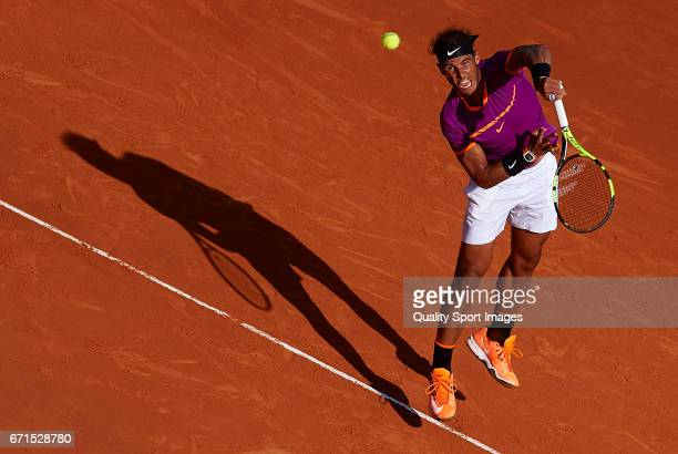 Rafael Nadal of Spain serves during the men's singles semifinal match against David Goffin of Belgium during day seven of the ATP Monte Carlo Rolex...
